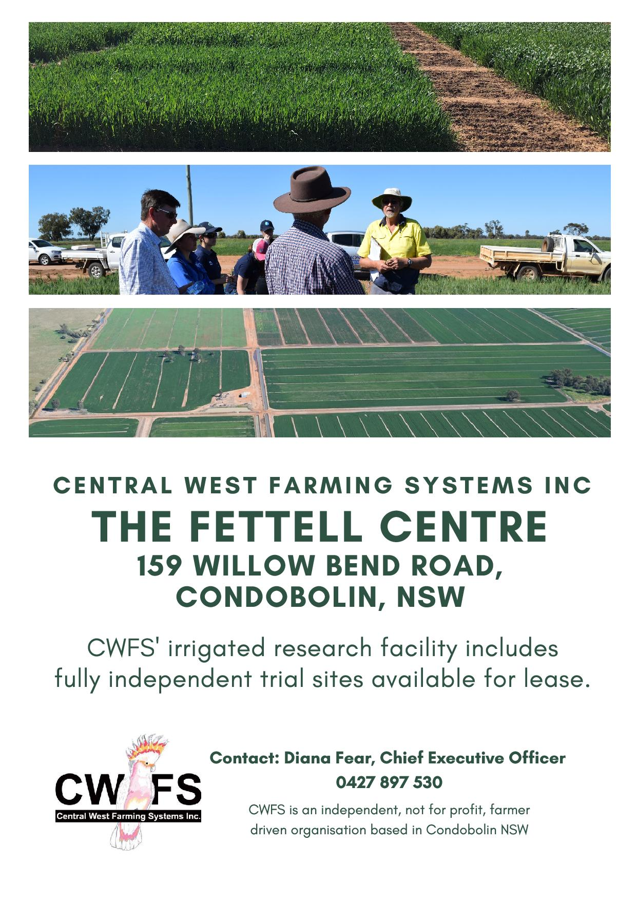 CWFS's irrigated research facility includes fully independent trial site available for lease